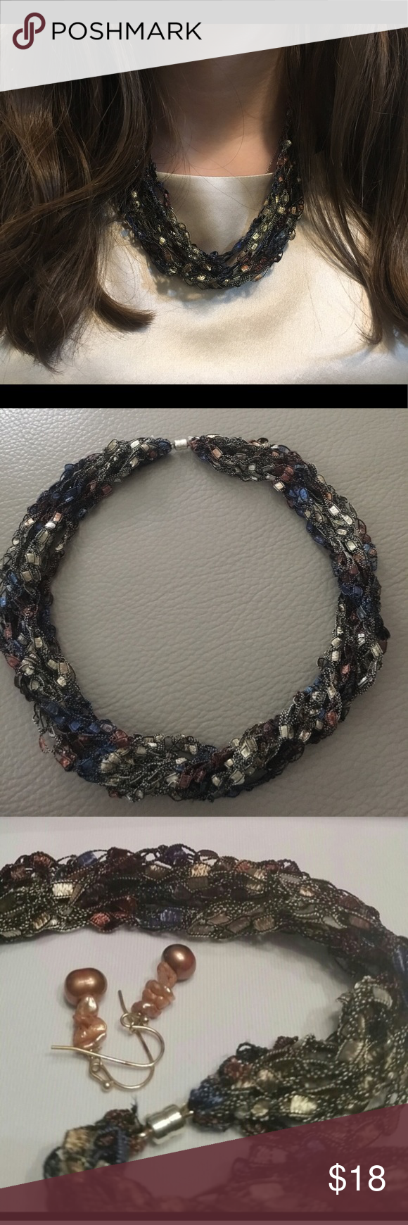 🆕Handmade necklace.✨ 🍀These  crocheted necklaces are absolutely dazzling and gorgeous. They look like shine beads and are light weight and very eye catching .  Simply hand wash in water, roll in towel to remove excess water, and lay flat to dry. Jewelry Necklaces