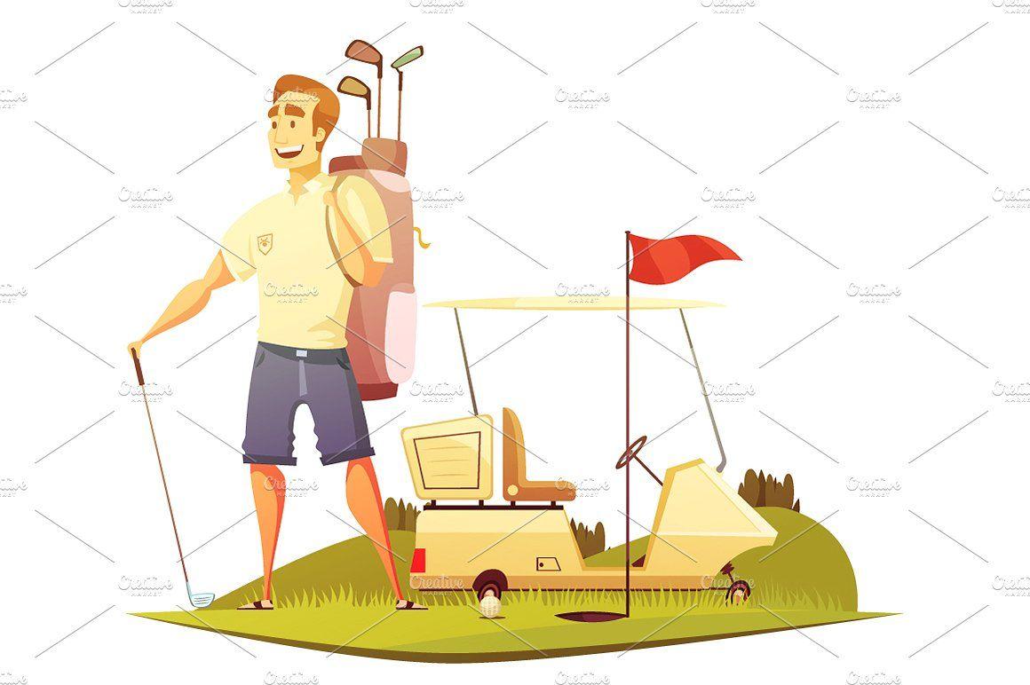 Golf Cartoon Set Retro Cartoons Cartoon Cartoon Icons