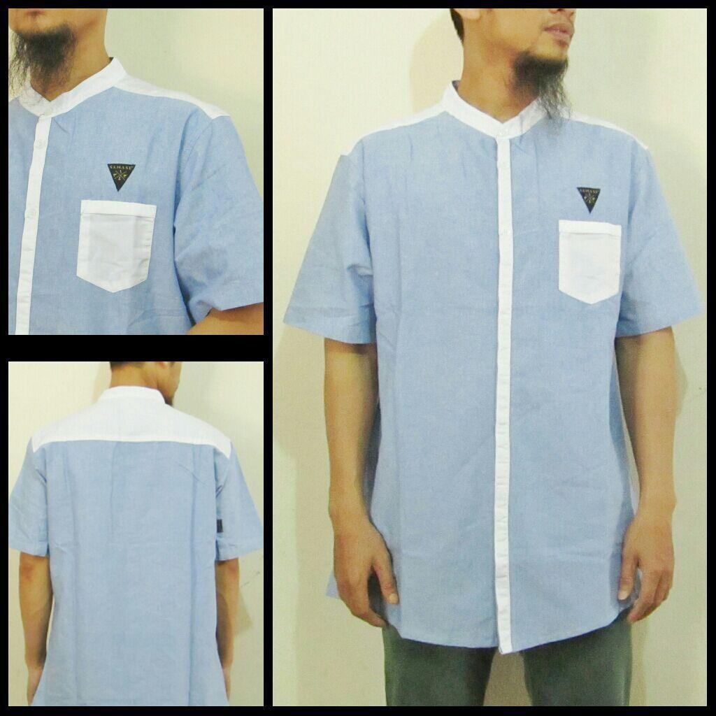 Baju Koko Samase Clothes Warna Biru Lengan Pendek 4 Muslim Pria Modern 11