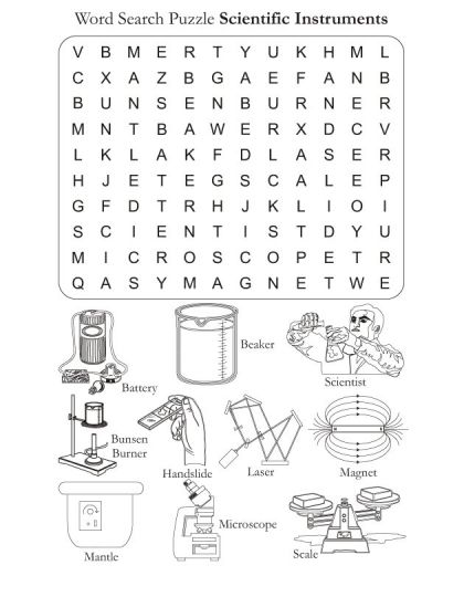 Word Search Puzzle Scientific Instrments