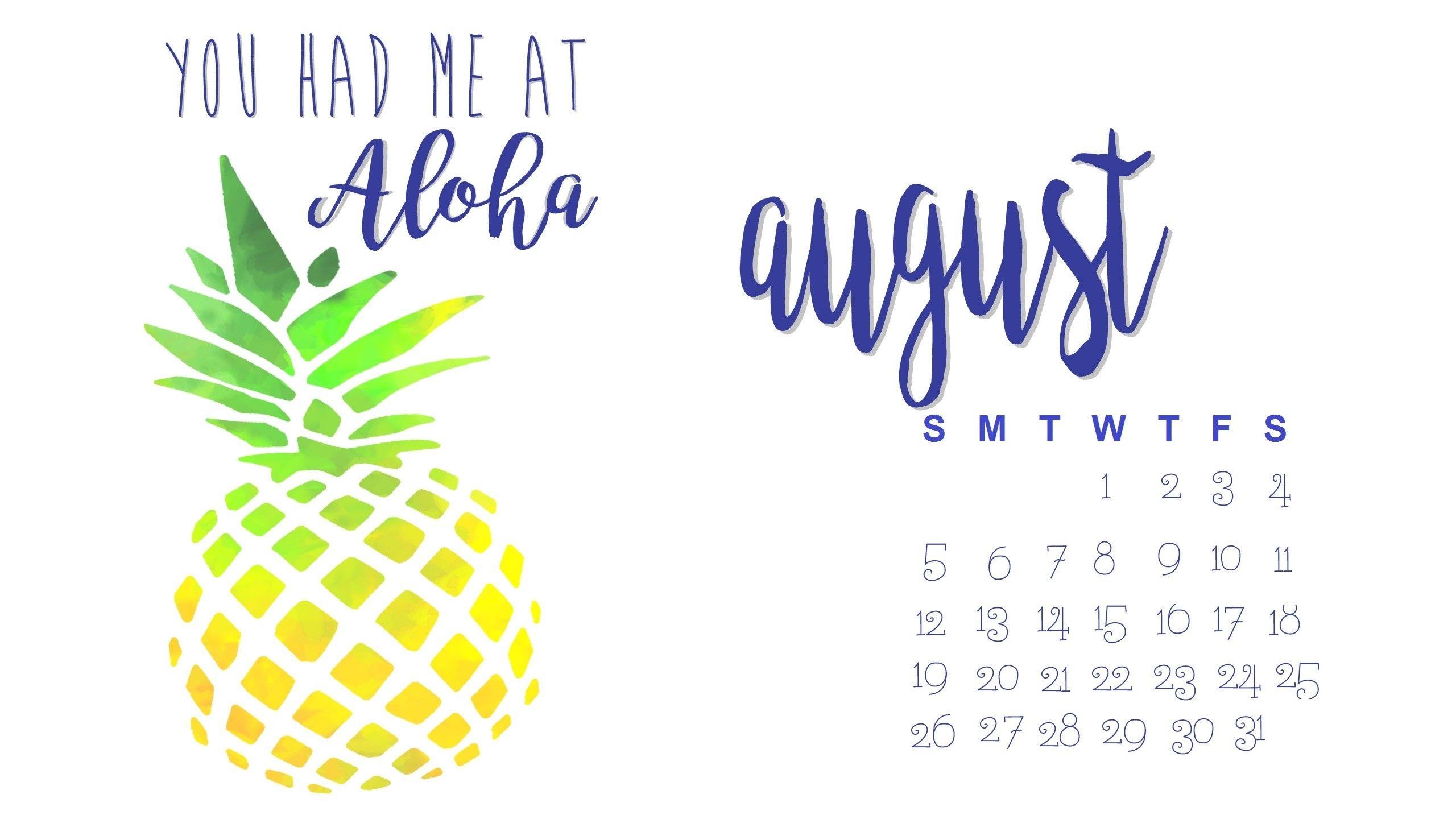 August 2019 Wallpaper Pineapple Cute Monthly Calendar In