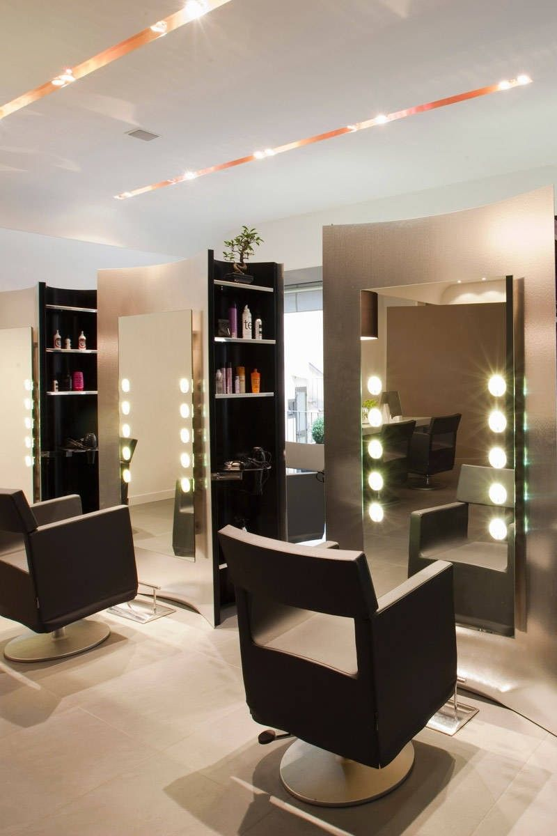Small Ideas For Hair Salon Interior Design With Recessed Lighting And Modern Chairs  Decorating