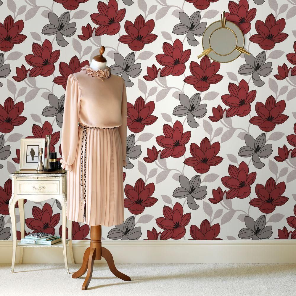graham & brown superflora red wallpaper | red wallpaper