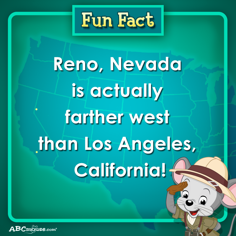 Fun Fact Reno Nevada Is Actually Farther West Than Los Angeles California Funfact California Nevada Nevada Facts Fun Facts For Kids Fun Facts