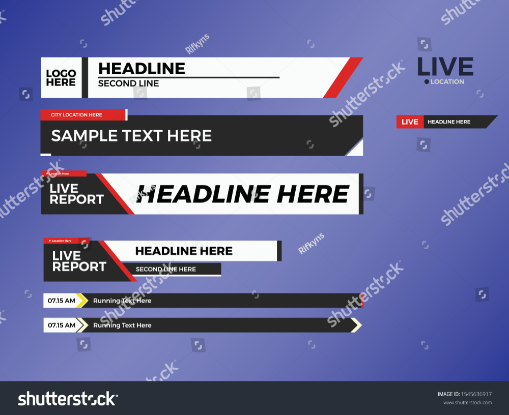 Lower Third Collection Set News Entertainment Stock Vector
