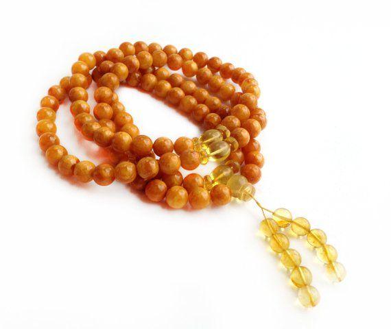 8mm Yellow Gemstone 108 Prayer Beads Tibet Buddhist Mala Necklace