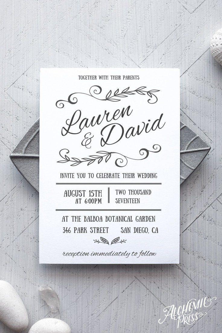 Rustica Printable Wedding Invitation | Invitation templates, Diy ...