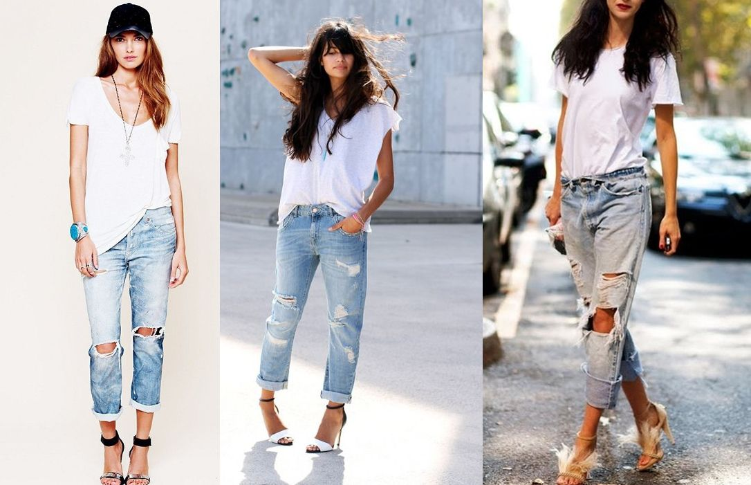 7e20a95e How to wear boyfriend jeans? With a loose white T-shirt and strap heels.