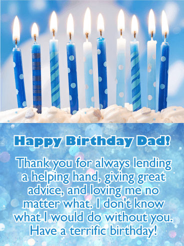 brightly lit candles happy birthday card for father if you are