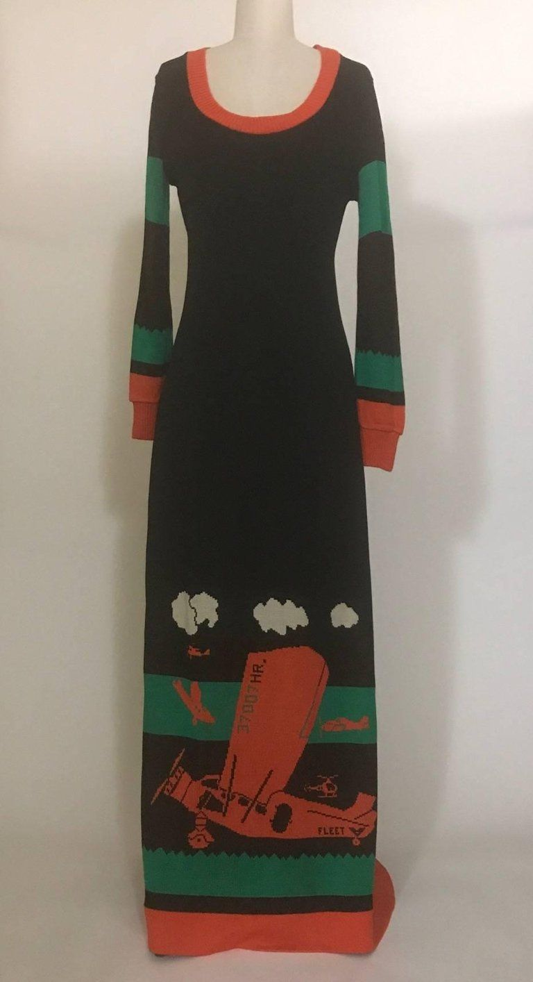 20349428d70 Giorgio Sant Angelo Knit 1970s Airplane Print Black Sweater Maxi Dress 2