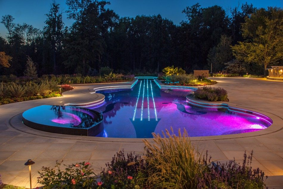swimming pool lighting ideas. Backyard Landscaping Ideas-Swimming Pool Forged As A Stradivarius Violin - Homesthetics Inspiring Ideas For Your Home. Swimming Lighting