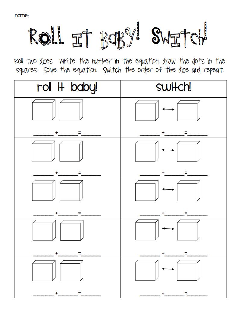 Roll It Baby Switch Pdf Math Centers 1st Grade Math Properties Of Addition [ 1035 x 800 Pixel ]