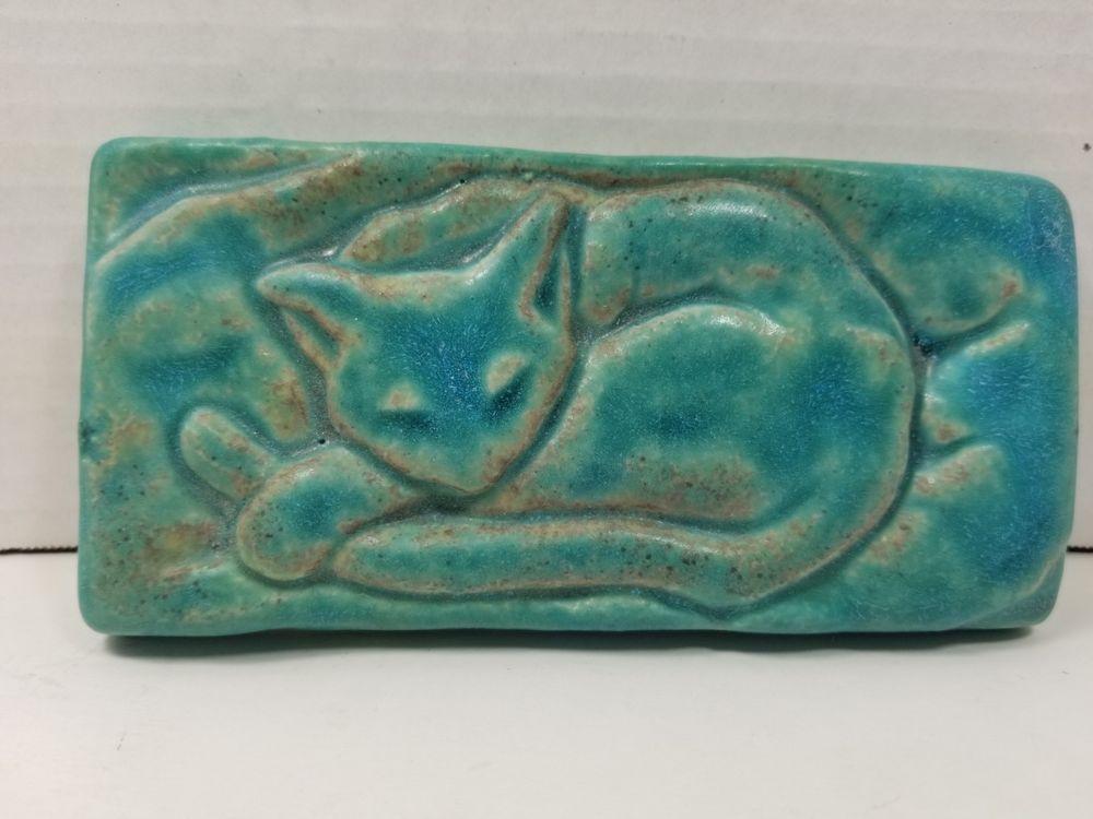 Vintage 1994 Detroit Art Pewabic Pottery Rectangular Turquoise Sleeping Cat Tile Pewabic Pottery Handcrafted Art Pottery Art