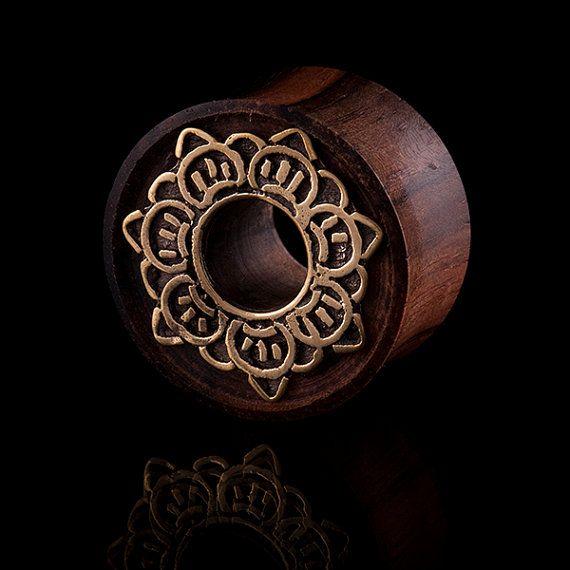 code 16 Brass//Wood Ear Tunnel//Plug,Brass,Tribal,Gauge jewelry