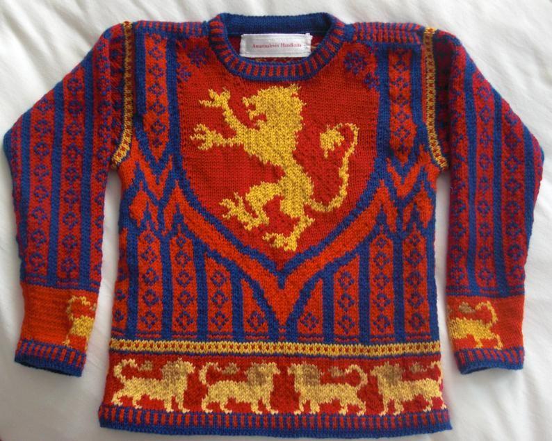 Knitting Pattern: Lion Shield Size Five Years   Etsy in ...