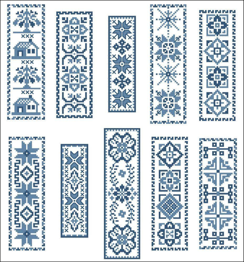 Victorian Blue BookMarks Cross Stitch PDF Chart. $7.50, via Etsy ...