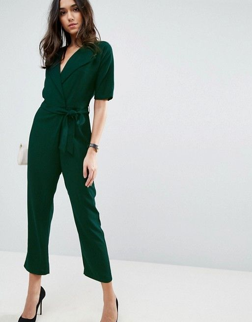 7903ac9f63d 11 Chic Wedding-Appropriate Jumpsuits for Fall - Wrap Jumpsuit with Self  Belt from InStyle.com