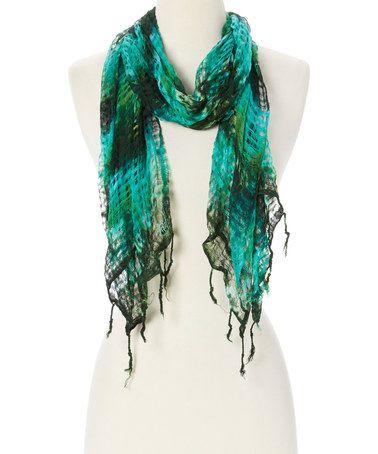 Love this Green Tie-Dye Baja Scarf on #zulily! #zulilyfinds