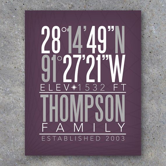 Family Home Coordinates Custom Wall Art