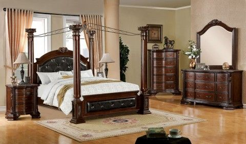 1837fa7271 - Tanu Brown Cherry Solid Wood Post Canopy Bed - Inland Empire Furniture & fa7271 - Mandalay Brown Cherry Solid Wood Post Canopy Bed | Solid ...
