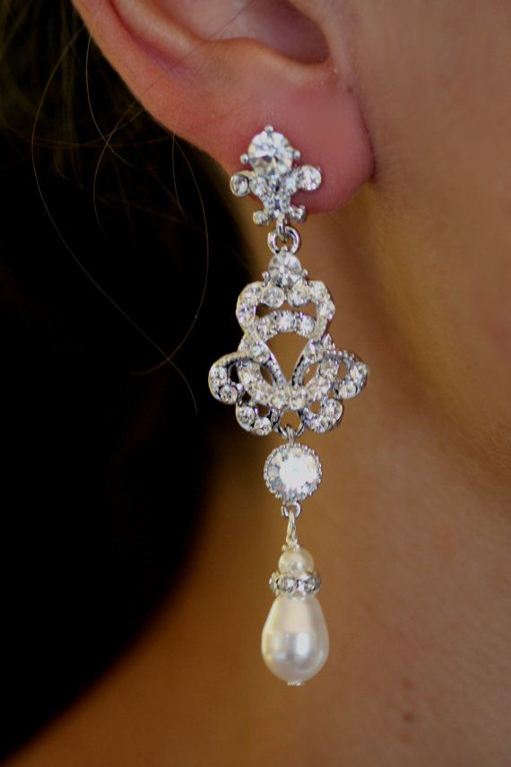 Swarovski Bridal Earrings Pearl Chandelier Crystal Wedding Jewelry Knot