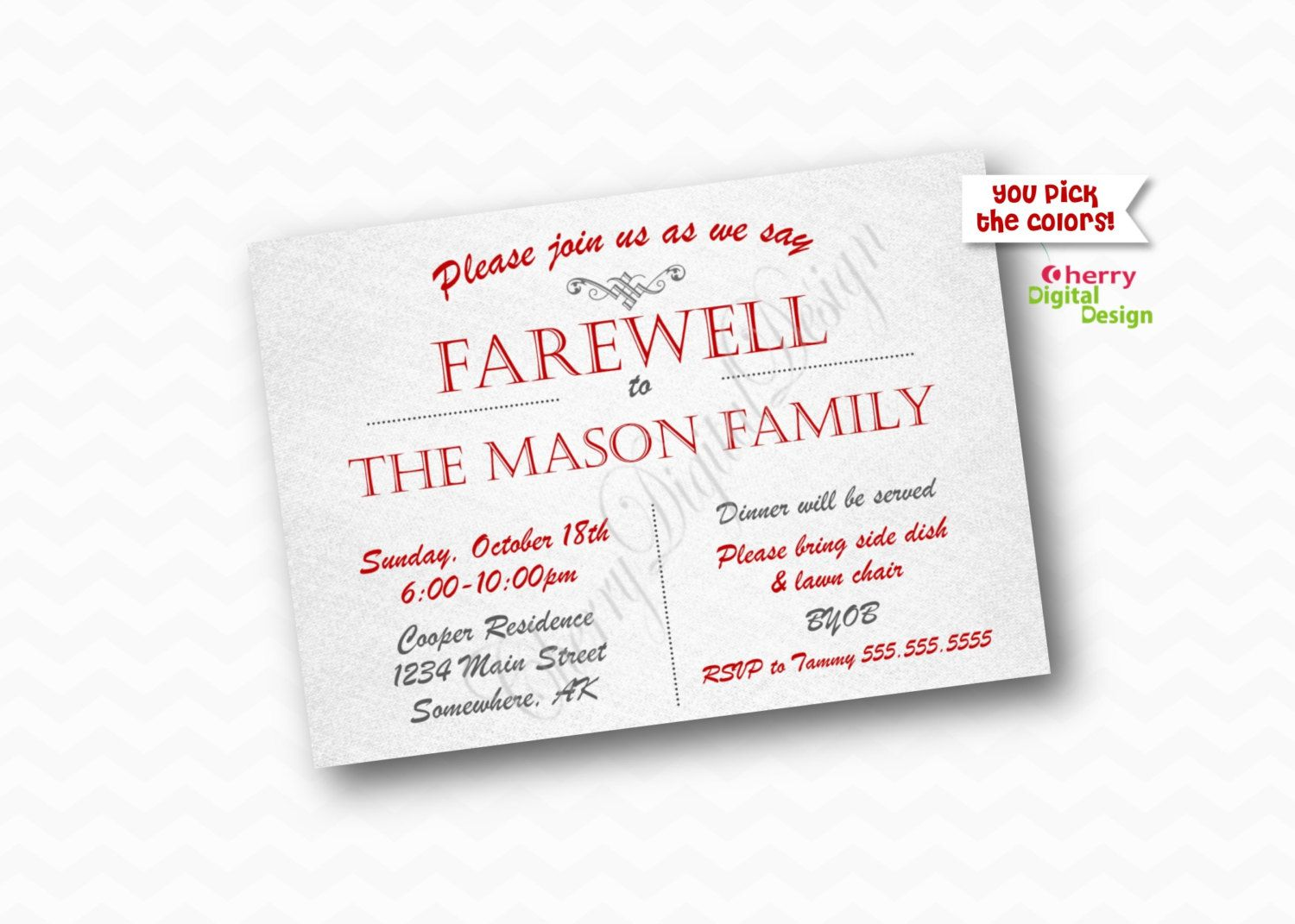 Simple Printable Farewell Party Invitation. Goodbye Party Invite ...