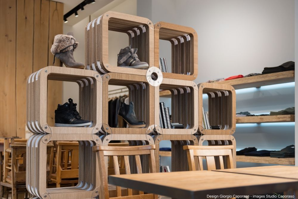 Retail Design Cardboard Modular Shelvign Working As Room Divider And Display For Fashion Items In Milan