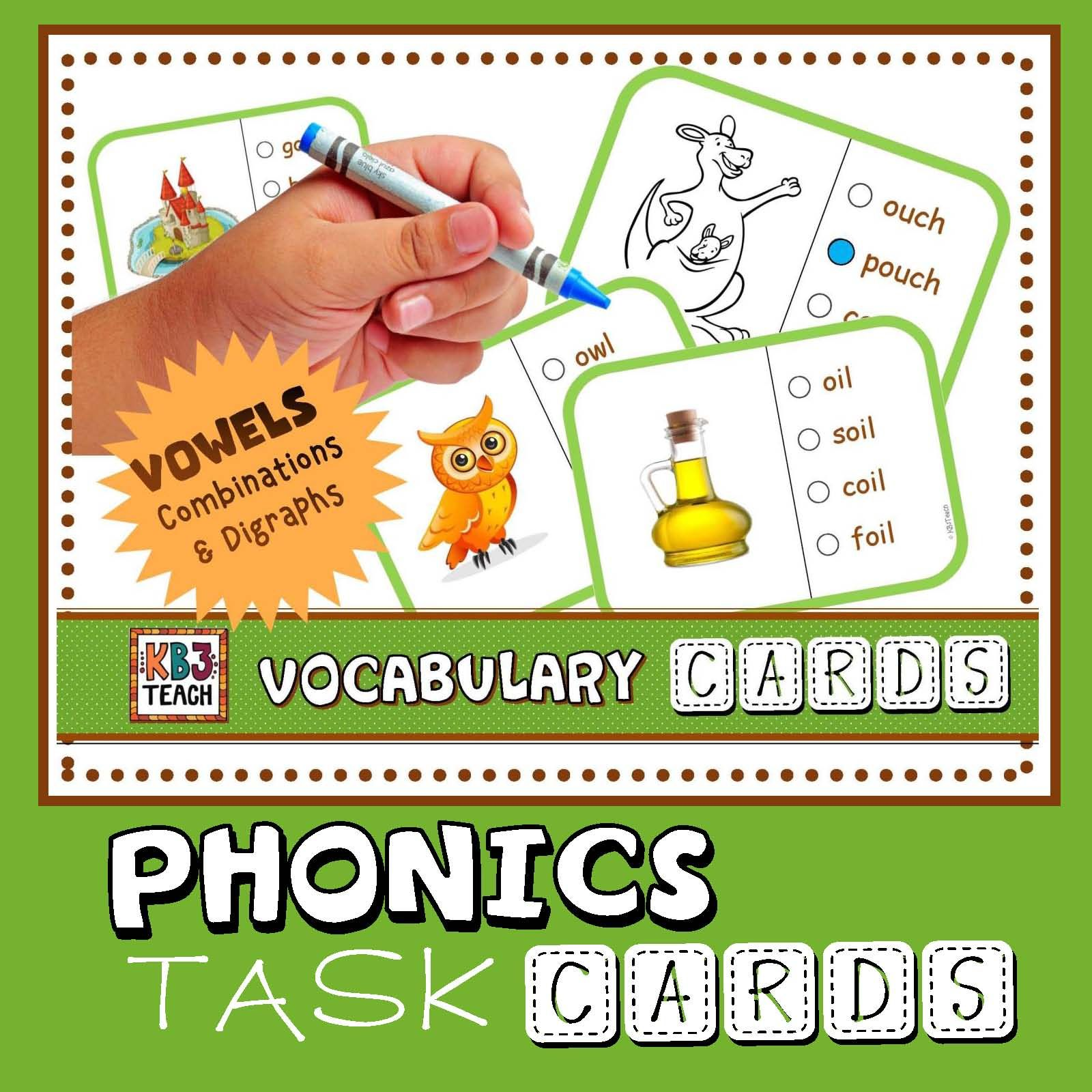 Phonics Multiple Choice Task Cards Vowel Combinations