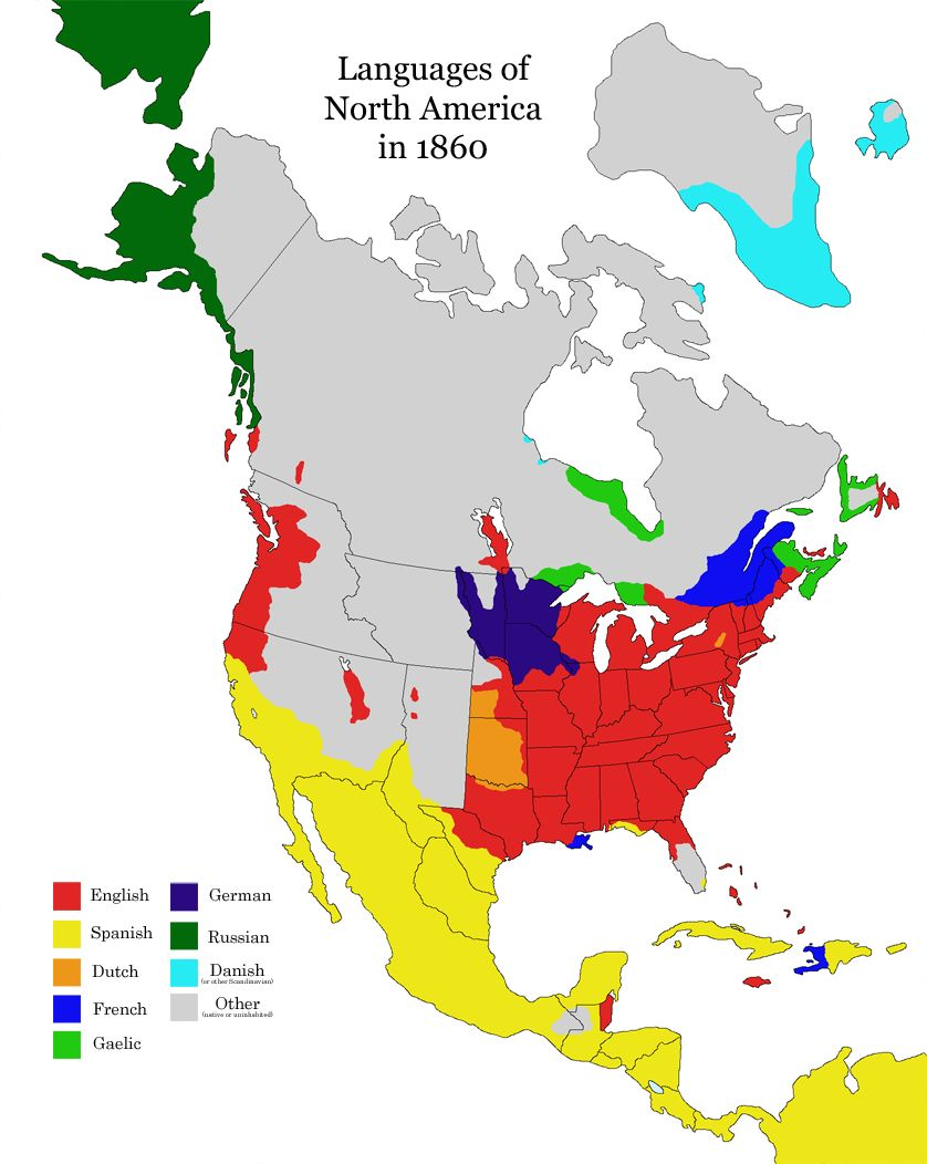 Map Of Canada Languages.Languages Spoken In North America In 1860 Gaelic Once Thrived In