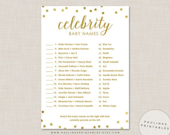 Printable Celebrity Baby Name Game Answer Key Have Your Guests Match The Names With