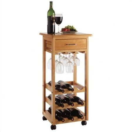 Kuhnhenn Kitchen Cart With Wood Top Wine Rack Storage Wine Cart Wine Bottle Rack