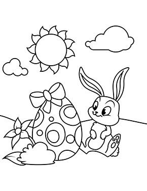 Ausmalbild Osterhase Sitzt Vor Einem Osterei Malvorlagen Fruhling Ostereier Ausmalen Malvorlage Hase