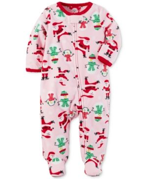 Ivory Red Santa 12 Months Simple Joys by Carters Baby 2-Pack Holiday Loose Fit Flame Resistant Fleece Footed Pajamas