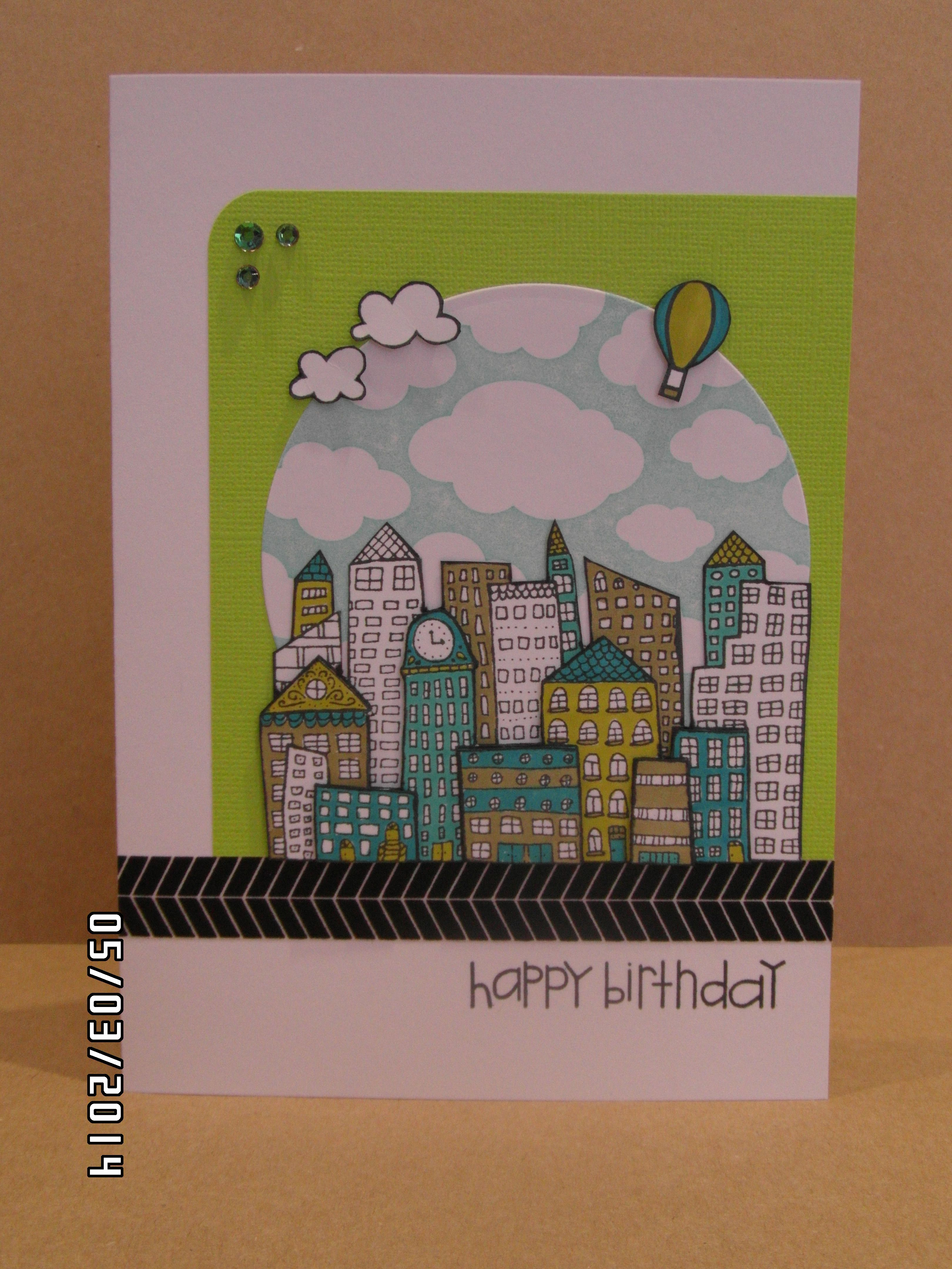 Hero Arts Silly Scape + Clouds Background + Paper Smooches Sentiment Sampler + Metropolis stamps used