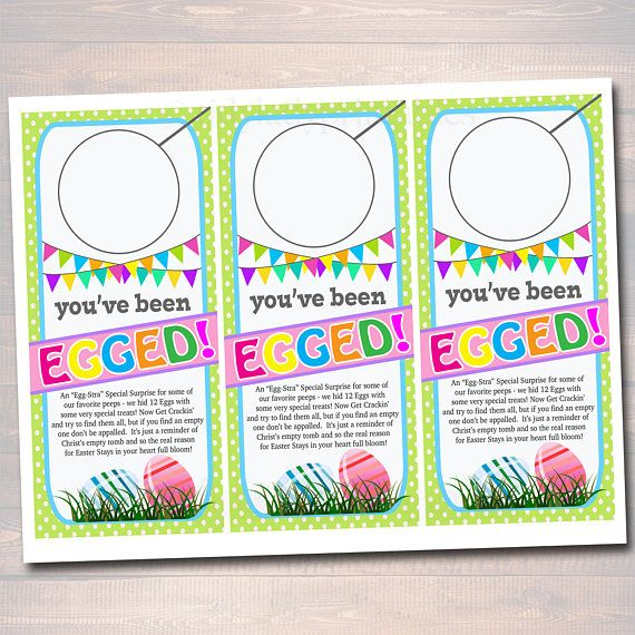 photo about You've Been Egged Printable titled Youve Been Egged Doorway Hangers, Easter Egg Hunt Indicator Package