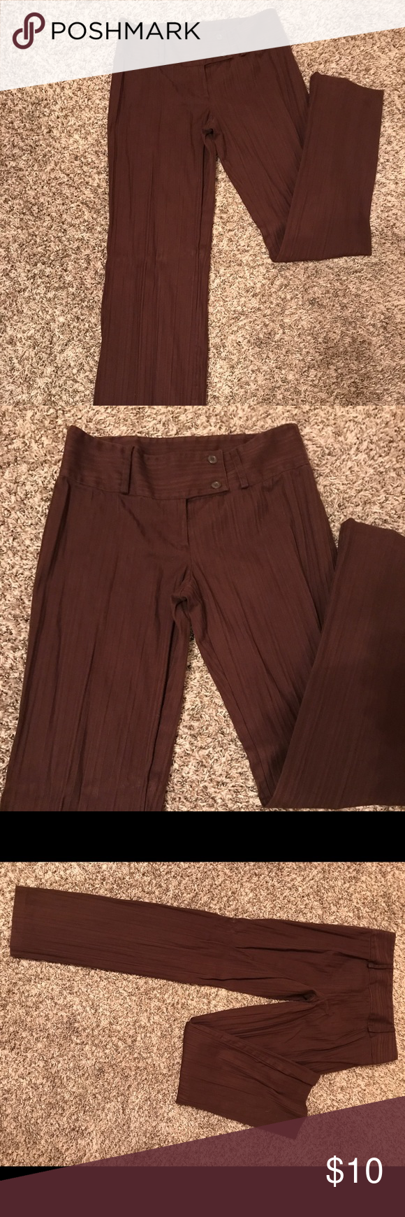 Dark brown dress pants juniors size about inches long pants