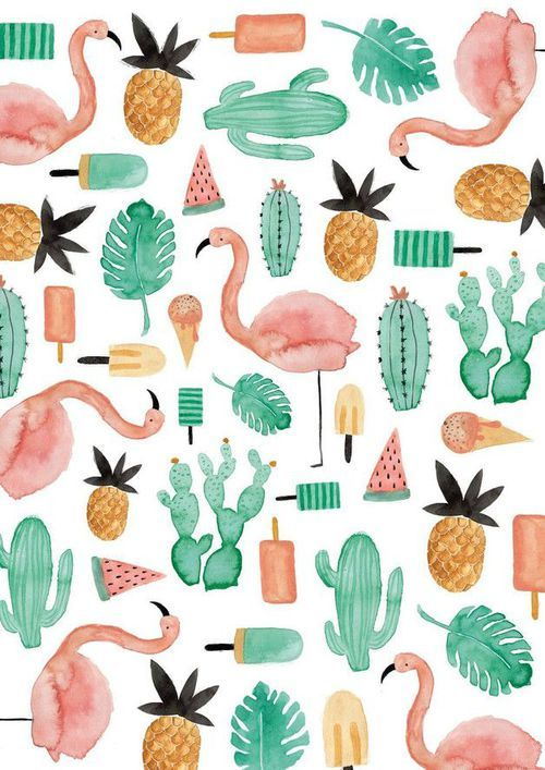 Imagen De Wallpaper Cactus And Flamingo