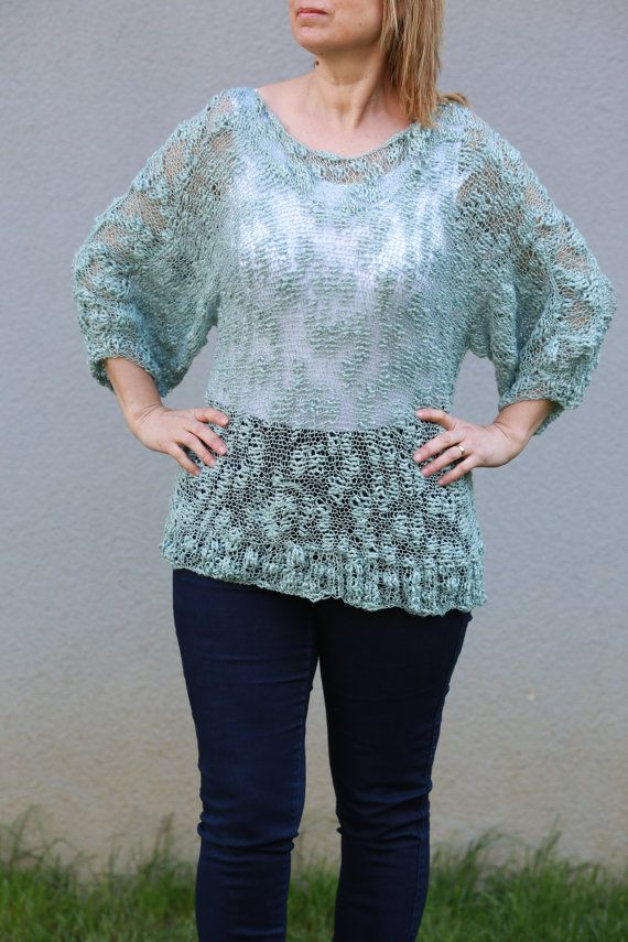 Light Blue Hand Knitted Medium Sleeved Cotton Stylish Sweater ...