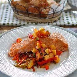 Steamed salmon with peach salsa