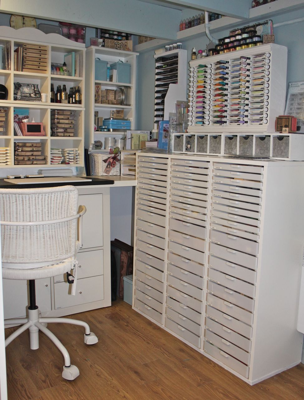 Craft Room {Paper Papillon) -her ink storage is really amazing, someone must have built that for her? Must see her blog...I see ideas here!