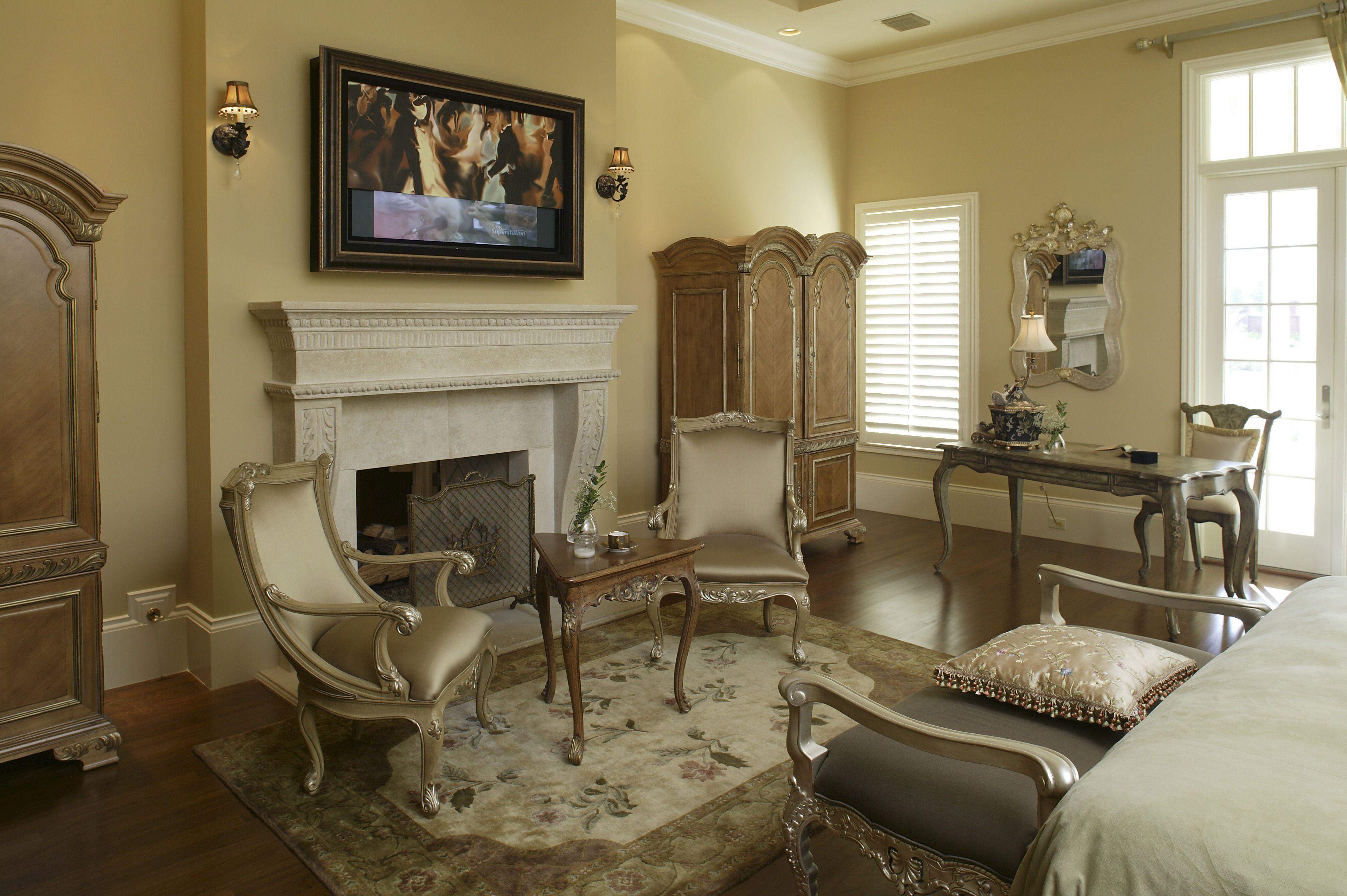 Master bedroom hardwood floors  Elegant master bedroom with hardwood floors a classic wooden desk
