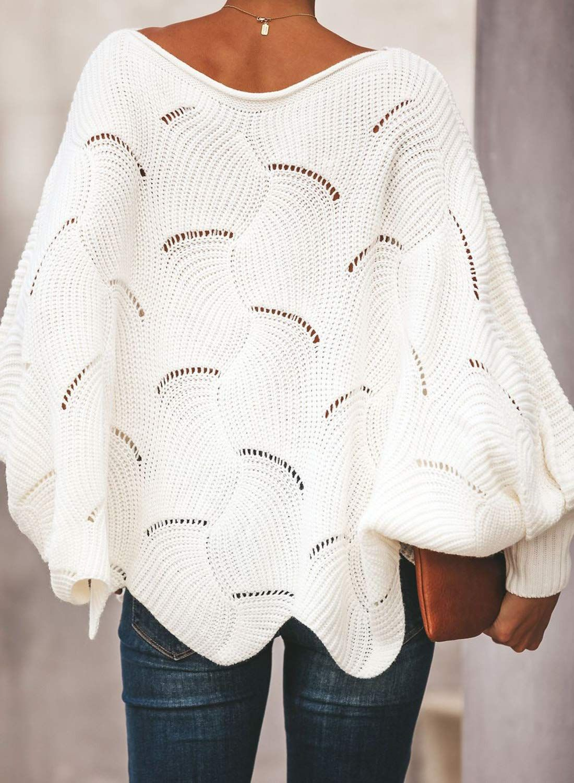 Asvivid Womens Oversized Batwing Sleeve Pullover Sweater