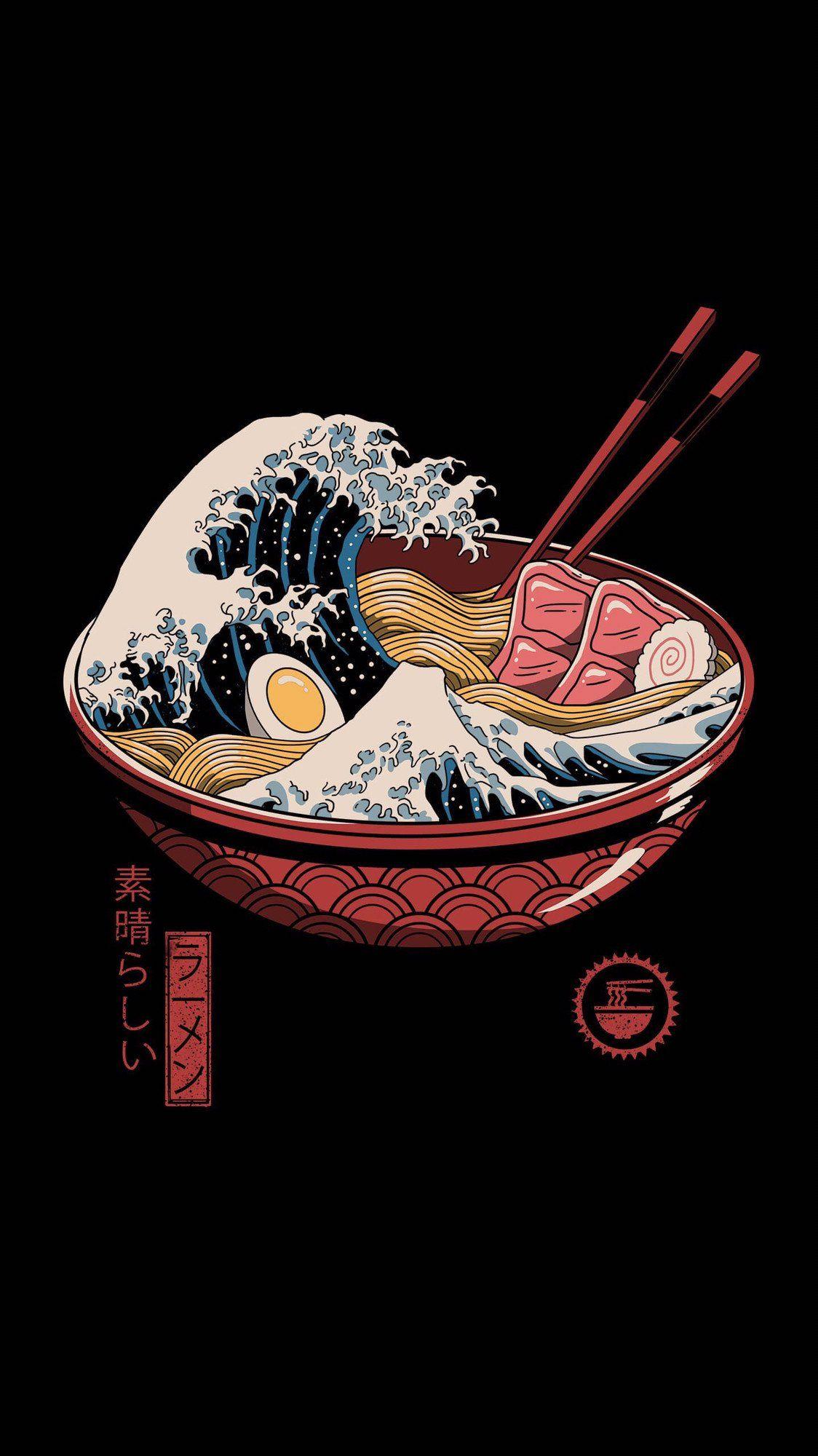 The Great Ramen Wave iWallpaper in 2020 Posters art