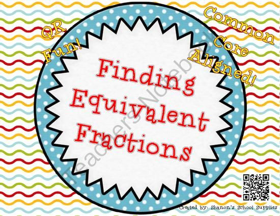 Finding Equivalent Fractions QR Task Cards from Shanon's School Supplies on TeachersNotebook.com -  (8 pages)  - Finding Equivalent Fraction Task cards. Help student practice how to find and identify equivalent fractions. Self checking QR codes included to make independent or group work quick and simple.