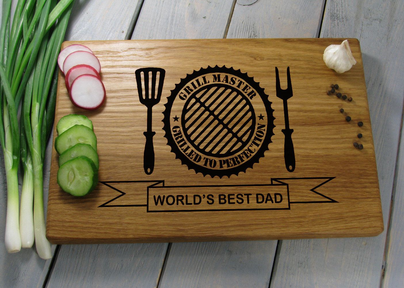Worlds Best Dad Personalized Cutting Board Engraved Chopping Board