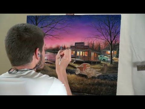 Painting A Sunset Scene Time Lapse By Chuck Black Painting Videos Scene Landscape Paintings