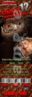 HOW TO TRAIN YOUR DRAGON 2 TICKET STYLE INVITATIONS