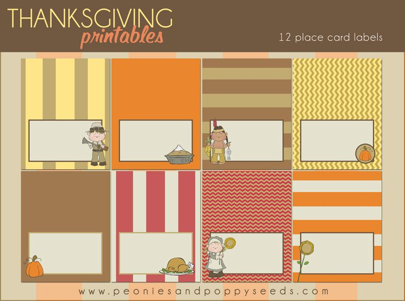 Peonies And Poppyseeds Free Thanksgiving Printable Place Cards - Celebrate it templates place cards