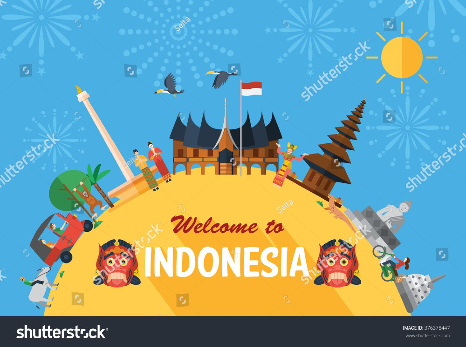 Flat design Indonesia icons and landmarks with