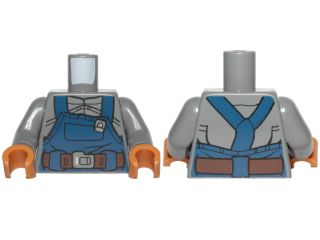 Lego Black Minifig Torso w// Sand Blue Arms Black Hands NEW